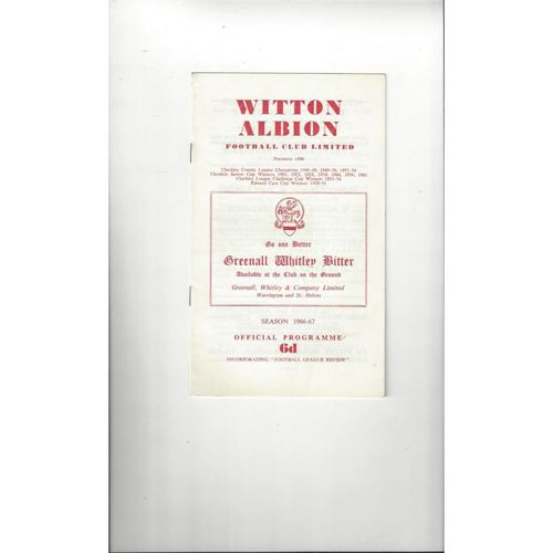 1966/67 Witton Albion v Wigan Athletic Football Programme