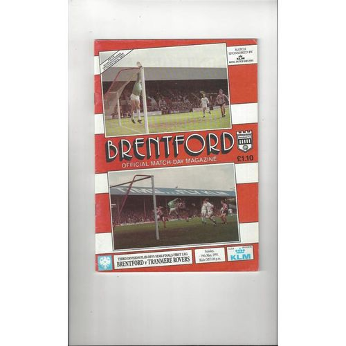 1990/91 Brentford v Tranmere Rovers Play Off Semi Final Football Programme