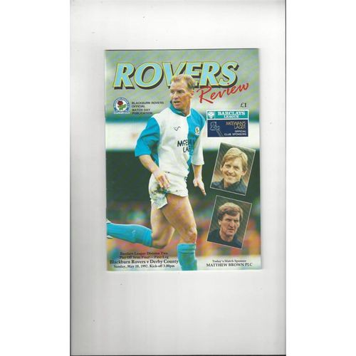 1991/92 Blackburn Rovers v Derby County Play Off Semi Final Football Programme