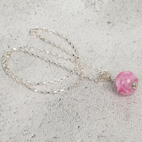 Pink Cremation Glass Pendant