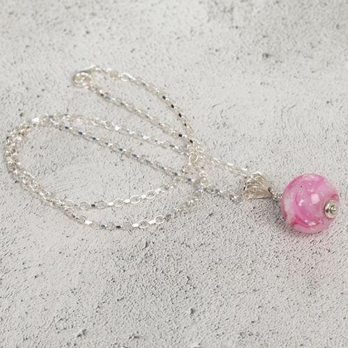 Pink Cremation Glass Pendant