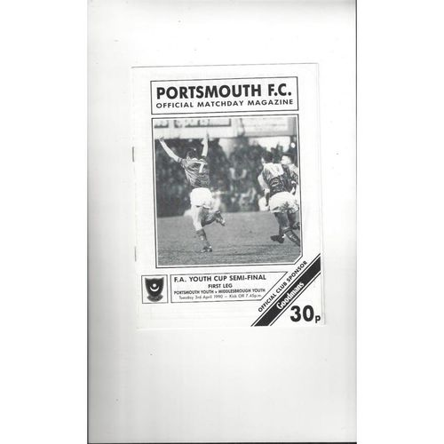1989/90 Portsmouth v Middlesbrough Youth Cup Semi Final Football Programme