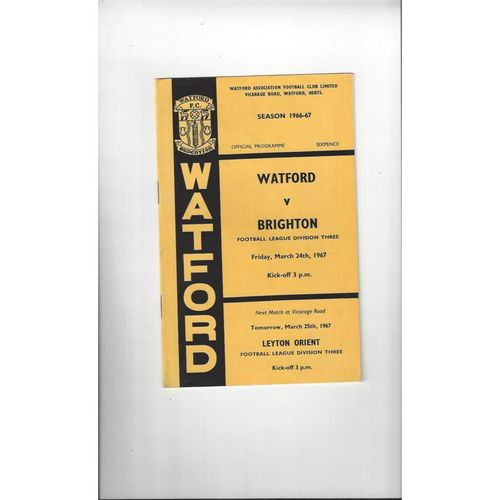 1966/67 Watford v Brighton Football Programme
