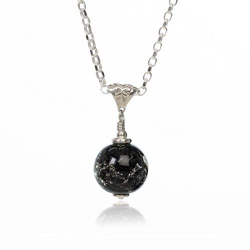 Black Cremation Glass Pendant
