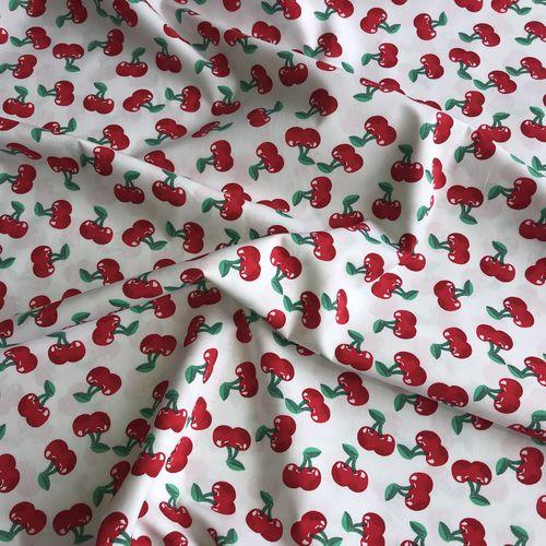 Juicy Cherries White Cotton Poplin