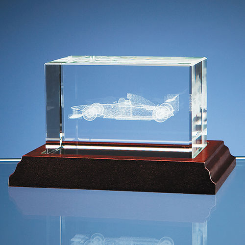 3D Formula 1 Car in Optical Crystal Block