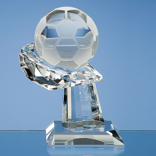Optical Crystal Football on Mounted Hand Award 8cm