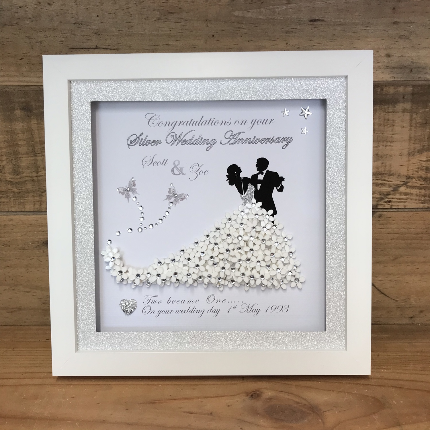 Bride and Groom 3D frame | Crafty Monkey | Personalised Golden ...