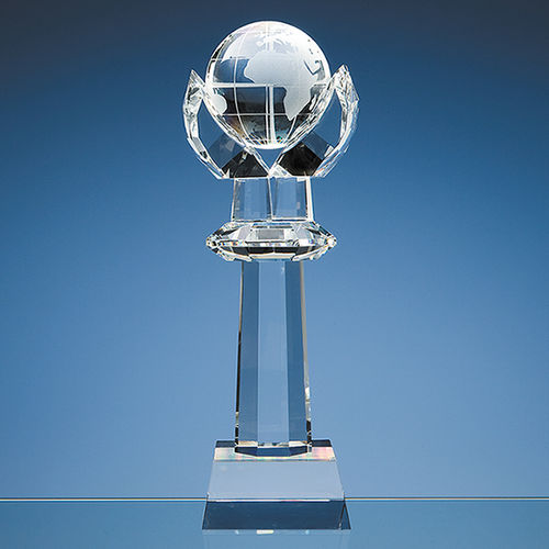 Optical Crystal Mounted Globe Column Award 31cm