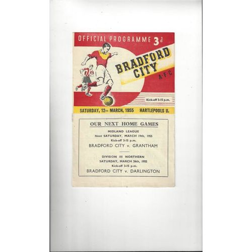 1954/55 Bradford City v Hartlepool United Football Programme