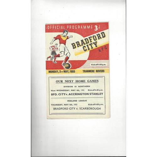 1954/55 Bradford City v Tranmere Rovers Football Programme