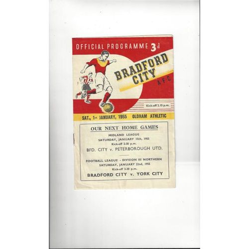 1954/55 Bradford City v Oldham Athletic Football Programme