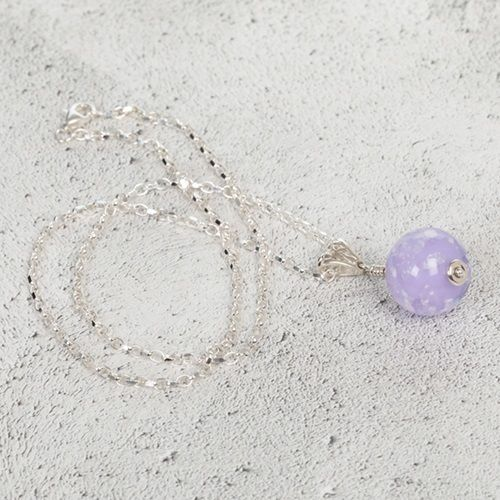 Lilac cremation Glass Pendant