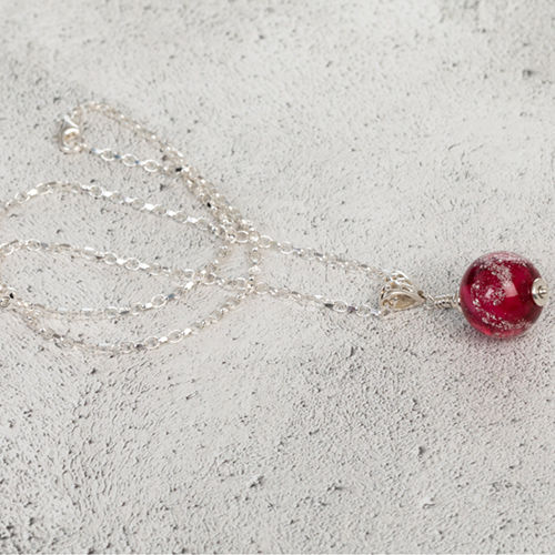 Cranberry Cremation Glass Pendant