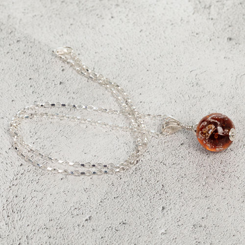 Amber Cremation Glass Pendant