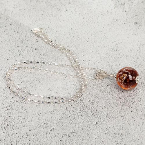 Amber Cremation Glass Pendant