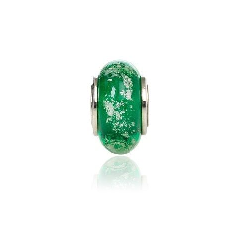 Green Cremation Glass Charm Bead