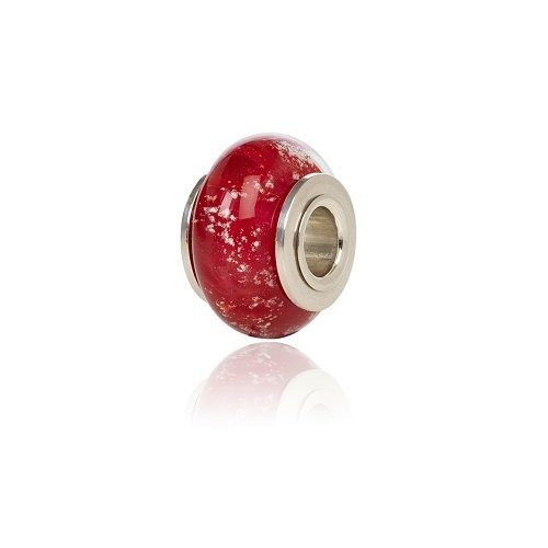 Red Cremation Glass Charm Bead