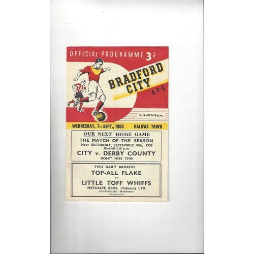 1955/56 Bradford City v Halifax Town Football Programme