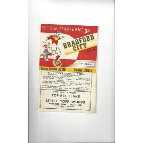 1955/56 Bradford City v Oldham Athletic Football Programme