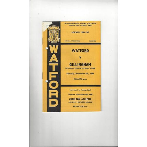 1966/67 Watford v Gillingham Football Programme