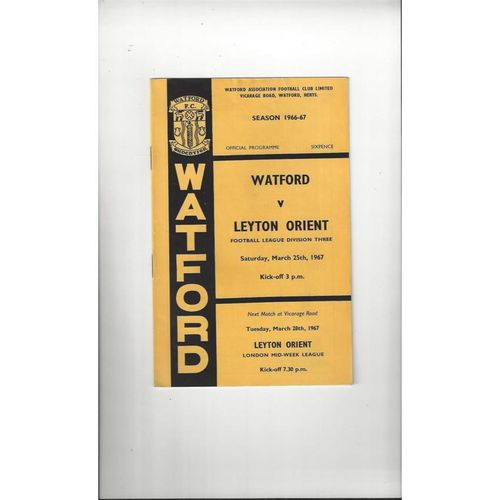 1966/67 Watford v Leyton Orient Football Programme