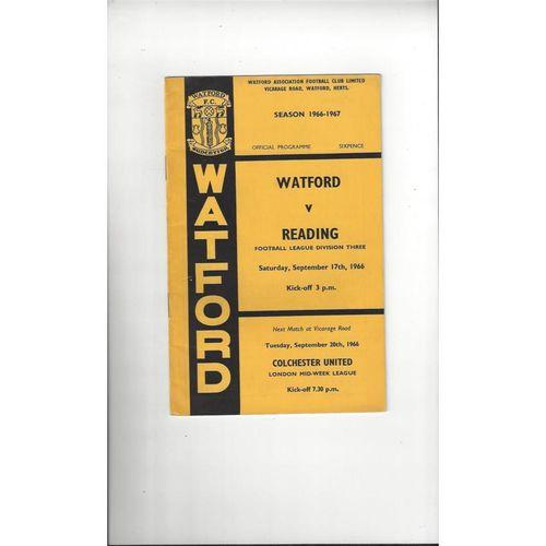 1966/67 Watford v Reading Football Programme