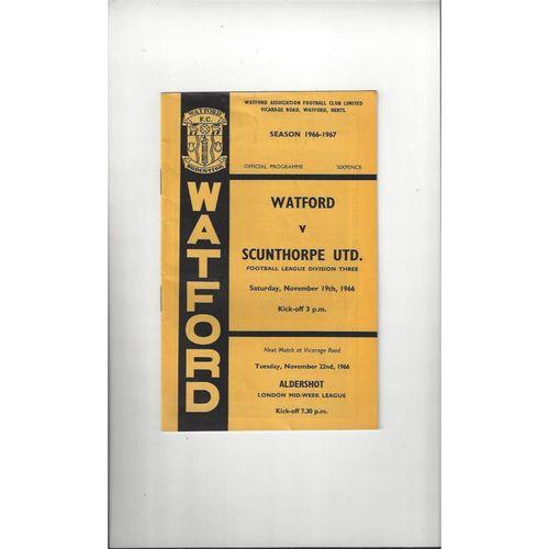 1966/67 Watford v Scunthorpe United Football Programme