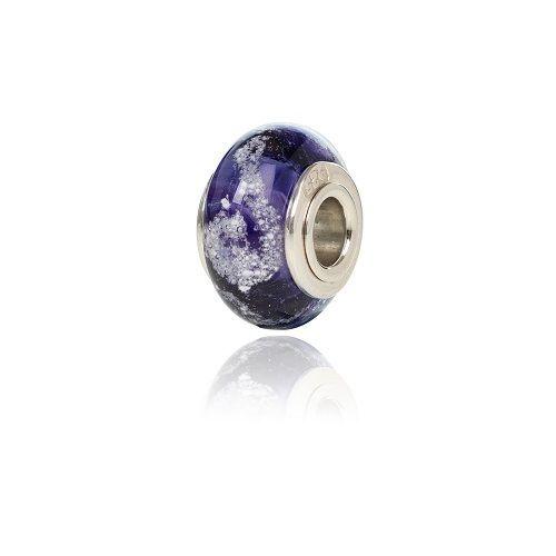 Purple Cremation Glass Charm Bead