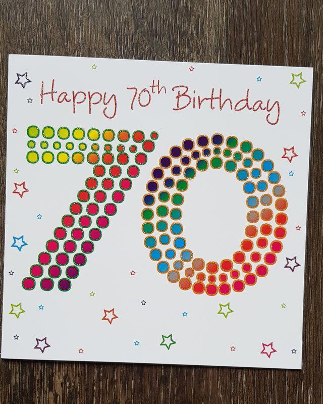 70th Coloured Stars Birthday Card