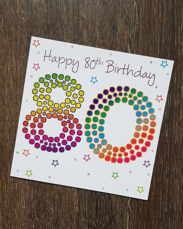 80th Coloured Stars Birthday Card