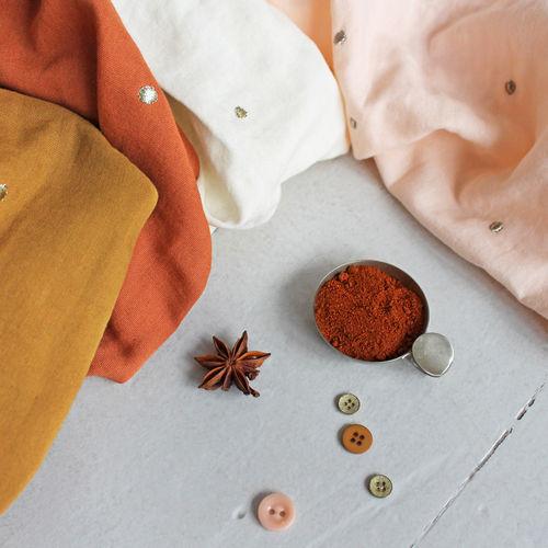 Atelier Brunette Stardust Ochre Double Cotton Gauze 0.84cm Remnant