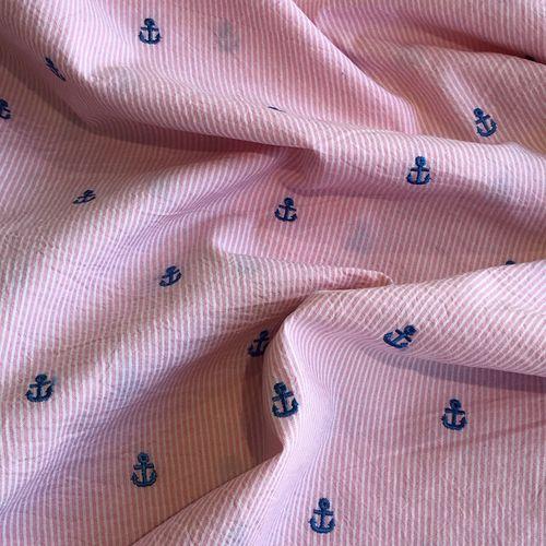 Nautical But Nice Pink Seersucker 1.08m Remnant
