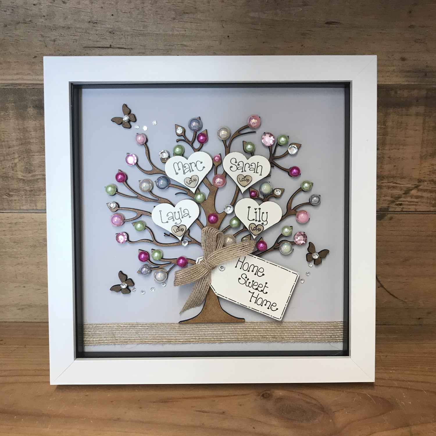Home Sweet Home Family Tree Frame Crafty Monkey Personalised
