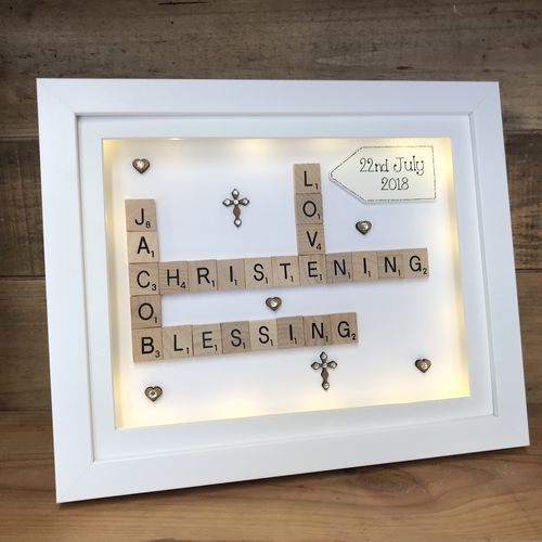 Christening / Baptism scrabble word art