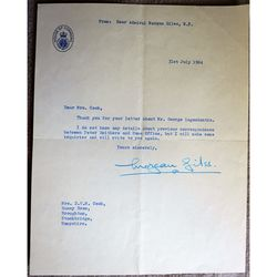 Rear-Admiral Sir Morgan Charles Morgan-Giles DSO OBE GM DL MP Signed letter