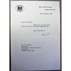 Geoffrey Dawson Lane, Baron Lane, Lord Chief Justice  Signed 1983 letter