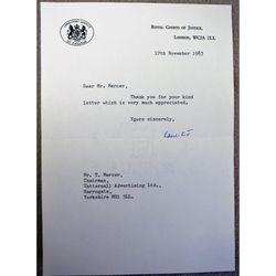 Geoffrey Dawson Lane, Baron Lane, Lord Chief Justice  Signed 1983 letter