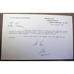 Sir Joseph Brian Barnard 1986 Letter Signature