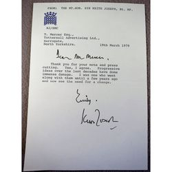 Sir Keith Joseph 1979 Letter with Signature