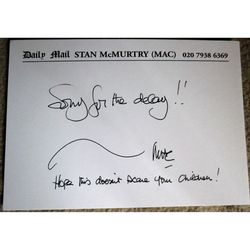 Stan McMurtry (MAC) Daily Mail Cartoonist Signed Compliments Slip