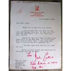 Dame Mary Barbara Hamilton Cartland, DBE, CStJ Signed 1985 Letter