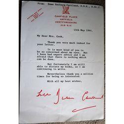 Dame Mary Barbara Hamilton Cartland, DBE, CStJ Signed 1944 Letter