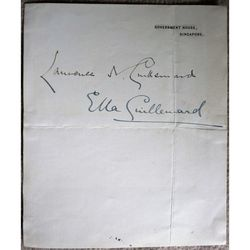 Sir Laurence Guillemard & Lady Ella Guillemard Autographs