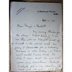Lewis Baumer Signed 1928  Letter to Major a Beckett