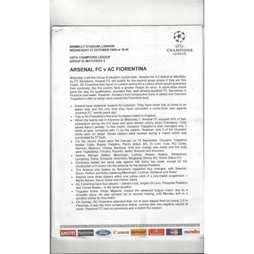 Arsenal v Fiorentina Champions League Official Press sheets 1999/00
