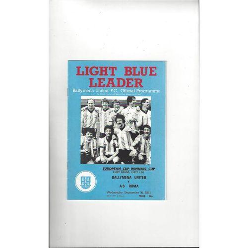 Ballymena United v Roma European Cup Winner Cup Football Programme 1981/82