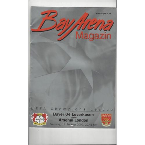 2001/02 Bayer 04 Leverkusen v Arsenal Champions League Football Programme