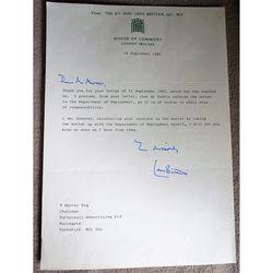 Leon Brittan 1985 signed letter