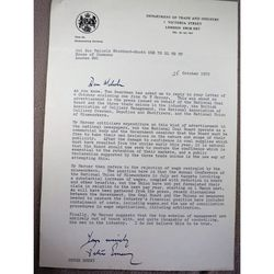 Peter Emery MP Signed 1972 Letter re NCB and Mining Unions